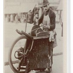 Canvas Print Of A London Knife Grinder On The Street