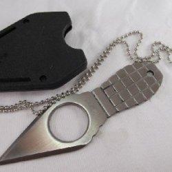 M-Tech Silver Grenade Neck Knife W/ Sheath; Plus A Free Gift Cellphone Anti-Dust Plug