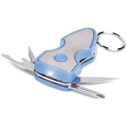 Corey Keylight Keychain Multitool - Blue - Flashlight, Pocket Knife, Bottle Opener, Flathead Screwdriver, And Phillips Screwdriver
