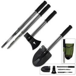 9-In-1 Emergency Tool Kit, Shovel, Axe, Knife, Hammer & More