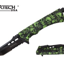 "Wartech 8"" Assisted Open Folding Tactical Pocket Knife With Fire Starter (Green Skull)"