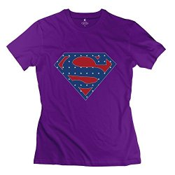 Girl Superhero Superman Flag Logo T-Shirts - Cool Custom Purple T Shirt