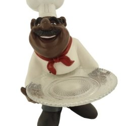 African American Fat Chef Kitchen Figure Statue Holding Glass Plate D64245