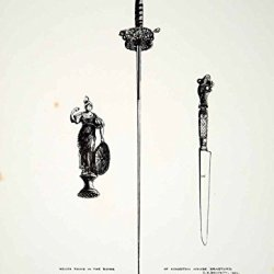 1859 Lithograph Cs Beckett Art Spanish Rapier Sword Knife Kingston House Uk Zz4 - Original Lithograph