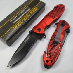 Tac-Force Assisted Opening Sawback Bowie Rescue High Carbon Half Serrated Silver Stainless Steel Blade Knife - Red