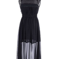 Anna-Kaci S/M Fit Black Lace Detail Sheer Overlay Knife Pleats Maxi Length Dress