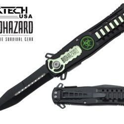 "Biohazard 8"" Spring Assisted Open Folding Zombie Pocket Knife"