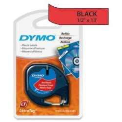 Label, Dymo Letra Tag, Red 1/2X13 Label, Dymo Letra Tag, Red 1/2X13