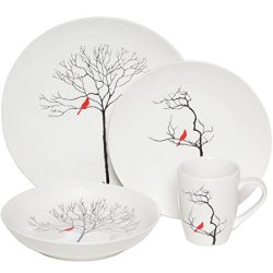 Melange 32-Piece Bird In Forest Coupe Porcelain Place Setting Set, Serving For 8