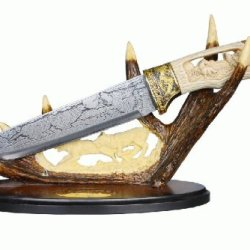 """13"""" Wolf Hunting Knife With Polyresin Deer Antler Stand"""