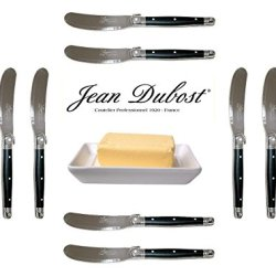 French Laguiole Dubost - 10 Butter Knives - Black Color - Stainless Steel Lemmet (Genuine Quality Family Dinner Colour Table Flatware/Cutlery Spreaders Setting For 10 People - Each Knife: 6 Inches - Manufactured In France - With Certificate Of Authenticit
