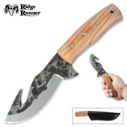 Ridge Runner Olive Wood Fixed Blade Gut Hook Skinning Knife