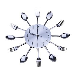 Cute Modern Design Silver Cutlery Kitchen Utensil Wall Clock Spoon Fork Clock