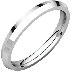 14Kt White 02.50 Mm Knife Edge Comfort Fit Band
