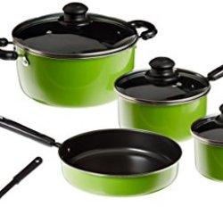 Gibson Colorsplash Merville 10-Piece Cookware Set. Green