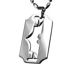 Ruimeng Titanium Steel Batman Pendant Necklace Dark Blade Knife Dog Tag Necklace,Dog Tag Necklace For Men