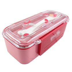 Angelia Bento Lunch Box-Double Layer-High Heat Resistance-With Plastic Fork&Knife (Pink)