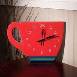 Perk Up Coffee Tea Clock - Red - 12-1/2-In