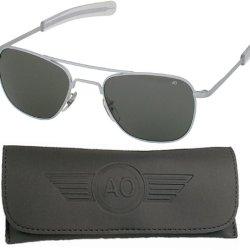American Optical Flight Gear Original Pilot Sunglasses, 52Mm Lens, Matte Chrome Frame, True Color 30060
