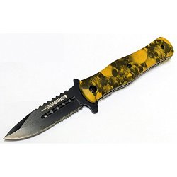 "New 8"" Defender Collection Yellow Folding Spring Assisted Knife Handle With Belt Clip"