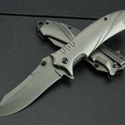 Black Outdoor Titanium Folding Blade Steel Line Lock Knife Mk337-8.34''