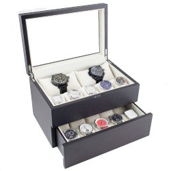 Vintage Dark Walnut Finish Wood Clear Glass Top Watch Box Display Storage Case Chest Holds 20+ Watches With Adjustable Soft Pillows And High Clearance For Larger Watches