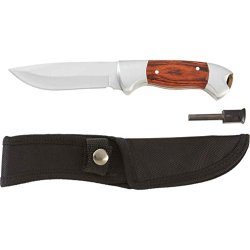 Maxam Wood Handle Fixed Blade Knife With Fire Starter - Skfbfs