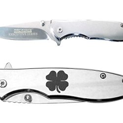 4 Leaf Clover Irish Engraved Mirror Finish Tac-Force Tf-573C Speedster Executive Model Folding Pocket Knife By Ndz Performance