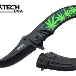 """Wartech 8"""" Assisted Open Folding Tactical Pocket Knife Green Marijuana Leaf Design Black Handle"""