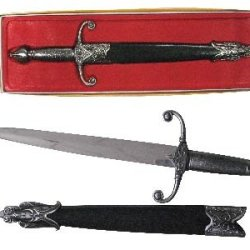 """Ke-001 Medieval Knights Wj3Nszhn9O Daggers 17.5"""" Overall Ayeuiu56 Hlbv23Rt Medieval Knights Augmzlq455 Dagger. 440 Stainless Steel Blade. Black Scabbard 17.5"""" Overall 10.5"""" Blade"""