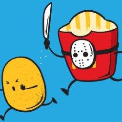 """French Fried Jason"" Funny Horror Film Parody - Rectangle Refrigerator Magnet"