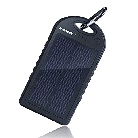 Nekteck Rain-resistant and Dirt/Shockproof 12000mA Solar Panel Charger Flexibility: Plug it into the wall to charge and take with you - or - If you're in an emergency situation, utilize the solar panel feature to charge the internal battery of...