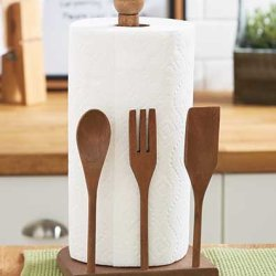 Paper Towel Holder/Dispenser Is Perfect For Your Kitchen. A Nice Design Of A Fork, Spoon, & Knife Decor. Best Placed Under Cabinets And Can Replace A Wall Mount. Leave The Roll On Counter Home. A Wooden Look Will Complete Your Utensils & Accessories