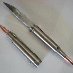 .50 Cal Bullet Brass Tip Assisted Opening Pocket Knife 50 Caliber M-60