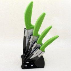 "6Pcs Gift Set , 3""/4""/5""/6""+Peeler+Knife Holder Ceramic Knives Green Color Set Black Curve Handle,White Blade By Coolshiny"