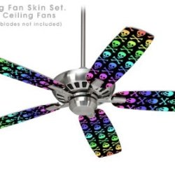 Skull And Crossbones Rainbow - Ceiling Fan Skin Kit Fits Most 42 Inch Fans (Fan And Blades Sold Separately)