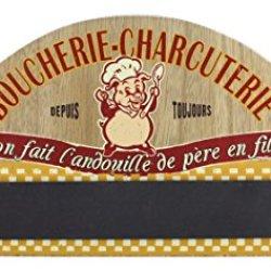 "Wood Magnetic Knives Holder, French Vintage Design "" Boucherie-Charcuterie"", 16"""