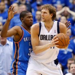 Oklahoma City Thunder V Dallas Mavericks - Game Two, Dallas, Tx - May 19: Dirk Nowitzki And Kevin D Photographic Poster Print By Ronald Martinez, 8X12