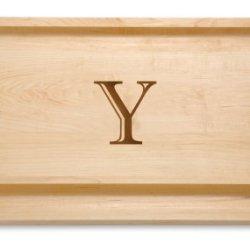 """J.K. Adams 20-Inch-By-14-Inch Maple Wood Monogrammed Bbq Cutting Board, """"Y"""""""