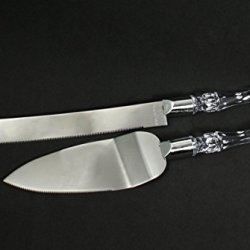 Wedding Knife And Wedding Cake Server Set Clear Silver With Personalized Engraved