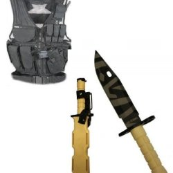 Ultimate Arms Gear Stealth Black Lightweight Edition Tactical Scenario Military-Hunting Assault Vest W/ Right Handed Quick Draw Pistol Holster + Tan M9 M-9 Military Survival Tiger Stripe Tigerstripe Blade Bayonet Knife With Tactical Sheath Scabbard
