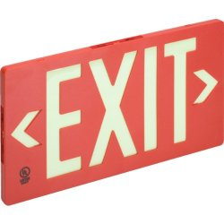 """Glo Brite Single Sided Exit Sign - Red - Abs Plastic Universal Mounting 8-3/4 X 15-3/8 X 3/4"""" (Hxwxd)"""