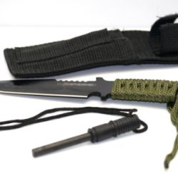 Mstechcorp Black Full Tang Tanto Survivor Hunting Knife W/ Fire Starter Sealed In Mstechcorp Packaging