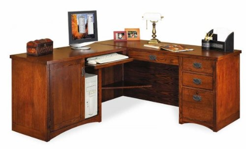 Picture of Comfortable Mission Pasadena Desk with Left Computer Return (Oak) (64