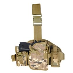 Armstac® Molle Platform Drop Leg Holster [S4] Pistol Holster With Molle Pouches, Quick Detach Release Buckle, Adjustable Straps, In Camo Color + Armstac® Lifetime Warranty & Tech Support
