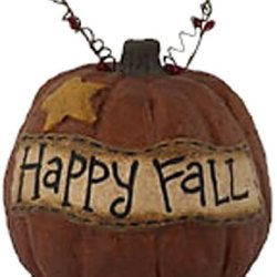 Craft Outlet 5.5-Inch Papier Mache Happy Fall Pumpkin Figurine, Large