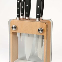 Mercer Culinary M23505 Renaissance Forged Knife Block Set, Wood Block With Tempered Glass