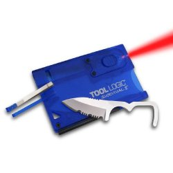 Tool Logic Svc2B Survival Card Tool With 1/2 Serrated Knife, Fire Starter, Whistle, Red Led Flashlight, Translucent Blue
