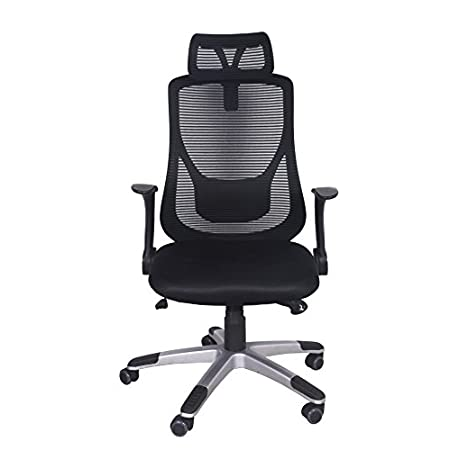 Features: Lumbar support design and breathable high-back mesh, design to provide exceptional back support and to prevent body heat and moisture build up Comfortable arm rests and foam padded mesh seat to eliminate body fatigue Reclining back, also c...
