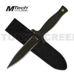 """Mt-097B M-Tech Oshgf Boot Knife 9"""" Overall Black With Evopgk1 Case Ayeuiu56 Hlbv23Rt M-Tech Boot Knife. 440 Stainless Steel Black Teflon Coated Blade Dmlkhxkrce With Blood Groove. Hard Rubber Handle Ewj9Z Includes Carrying Case With Boot Clip. 9"""" Overall"""